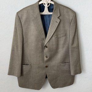 Ralph Lauren Silver-Gray Silk 3 Button Suit Jacket